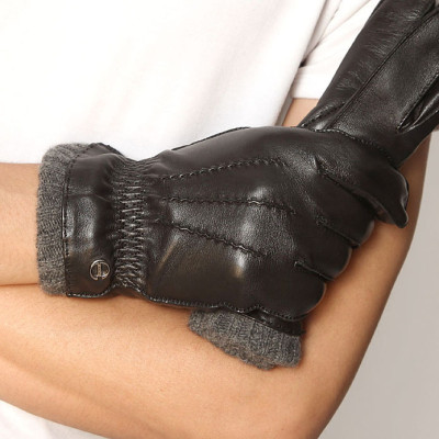 2012 New Rib Knit Men's Leather Gloves