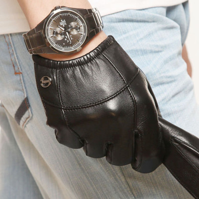New Men's Short Palm Touch Function Leather Gloves