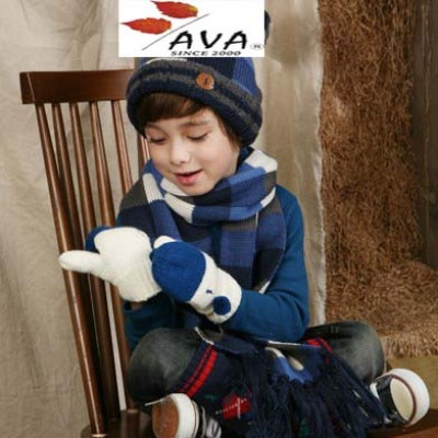 Children Autumn And Winter Children Wool Cap Hat Scarf Two-piece Of Mixed Colors