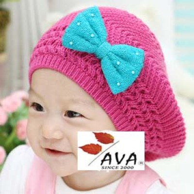 Baby's Knitted Berets Wool Cap Camera Style Hat With Bow