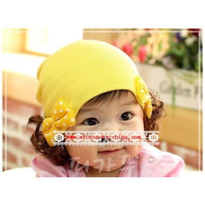 Baby Cotton Cap With Little Bow And Wigs