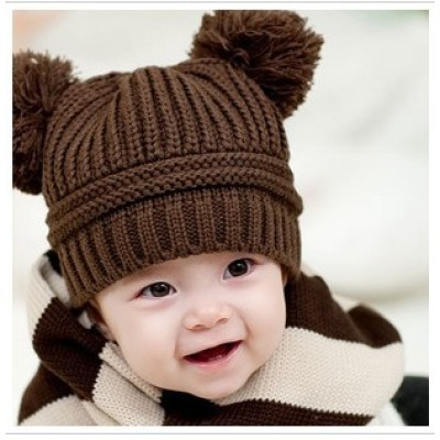 The Double Ball Baby Single Product Knitted Children Cap
