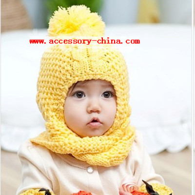 New Children Serratula Hanging Double Ball Wool Winter Baby Cute Hair Ball Ear Warm Cap