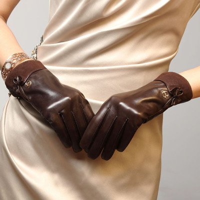 Hot sale 2012 new bow back decorated suede mouth of Ms. leather gloves