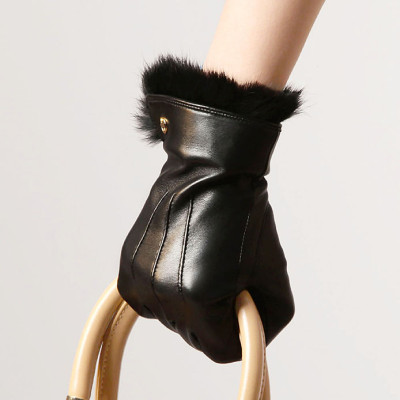 Hot sale the 2012 the new angora mouth Ms. leather gloves / imported sheepskin EL003PR