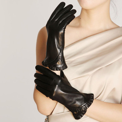 Hot sale 2012 new Ms. Lace mouth leather gloves