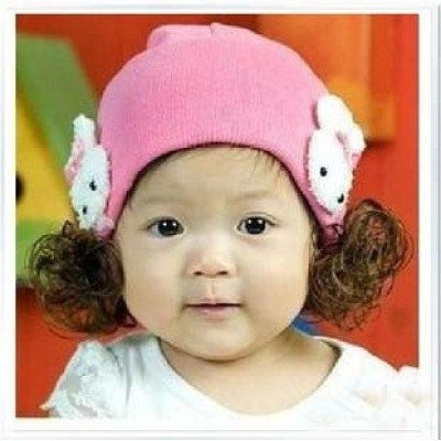 Baby Rabbit Wig Hat Baby Wig Flax Cap