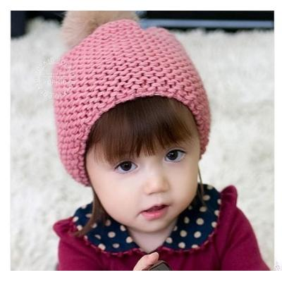 Original Design Pure Hand-woven Colorful Rabbit Fur Ball Baby Berets