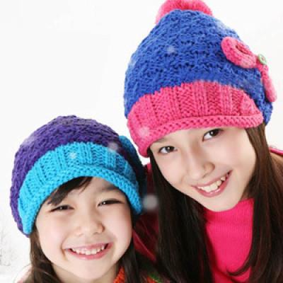 Children Winter Warmth Rainbow Wool Bow Hat