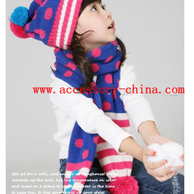 Children Autumn And Winter Wool Knitted Hat And Scarf Suit
