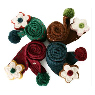 Children Scarves Handmade Flower Winter Knitted Wool Scarf