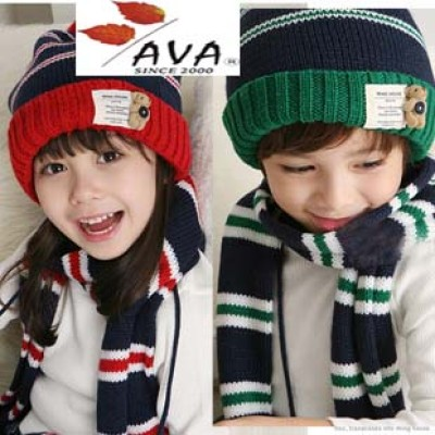 Teddy Bear Buttons Children Wool Striped Hat Scarf Two-piece Suit