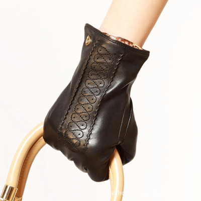 Hot sale back 2012 new Ladies flower leather gloves