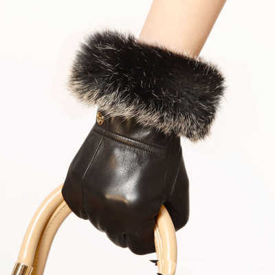 Hot sale 2012 new Ladies leather gloves / top sheep angora mouth