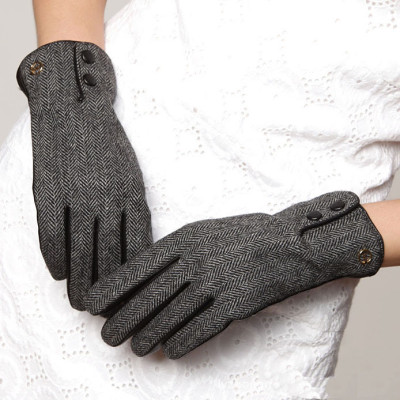 Hot sale 2012 new lady leather gloves, wool material surface