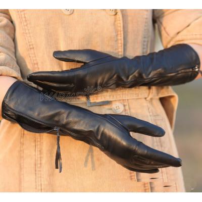 Hot sale  women new Korean long sheepskin manicure fashion leather gloves