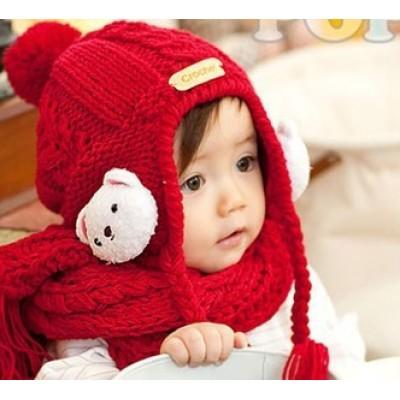 Bear Ear Knitted Winter Children Hat Scarf Piece Suit
