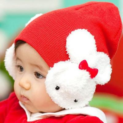 Baby Double Rabbit Knitted Wool Ear Cap