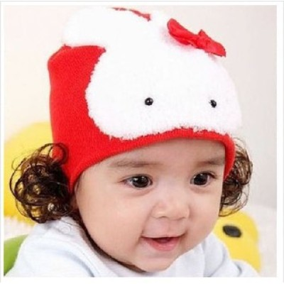 Big Bunny Bow Headband Children Warm Wig Cap