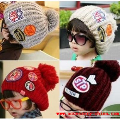 Most Stylish Labeling Sphere Wool Parent-child Cap