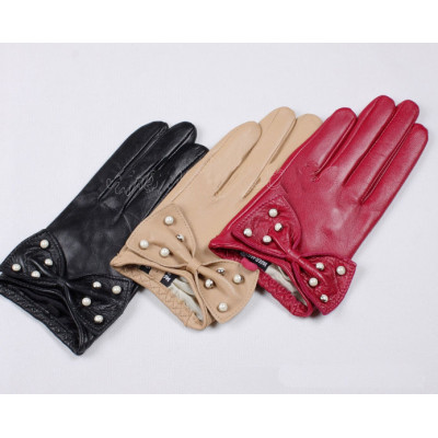 Hot sale star with stylish bow Korean the lovely manicure sheepskin leather gloves L119N