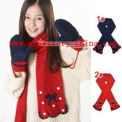 New Very Beautiful Bow Repair Side Of Male And Female Baby Children's Spring And Autumn And Winter Warm Wool Scarf