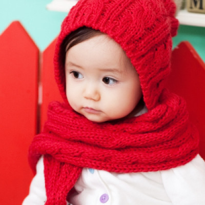 Baby Male And Female Hat And Scarf One-piece