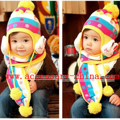 Children Of The Big Pompon Rabbit Winter Ear Hat And Scarf Suit