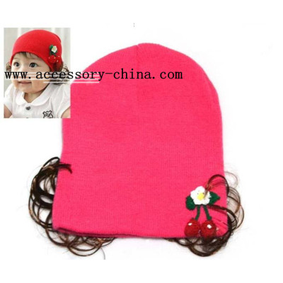 Special Handmade Cherry Wearing A Wig Infants Cotton Cap