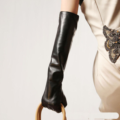 Hot sale women 2012 new long section of leather gloves