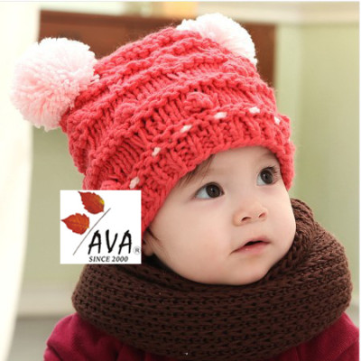 New Winter Baby Little Double Ball Wool Cap