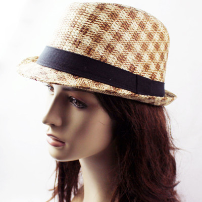 The Neutral Retro Jazz Spring And Summer Straw Small Plaid Cap