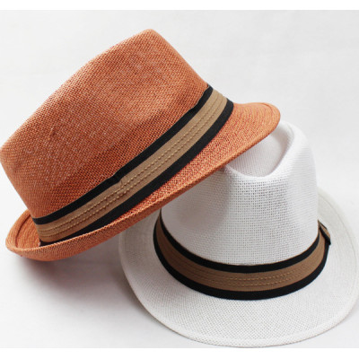 New Breathable Mesh Straw  Two-color Belt Hat