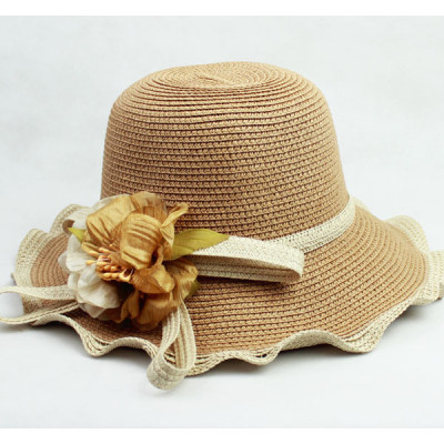 Coast Style Wavy Edges Large Along The Handmade Fine Woven Sun Straw Hat