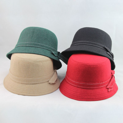 Elegant Intellectual Bow Millinery Fashion Bowler Wool Hats