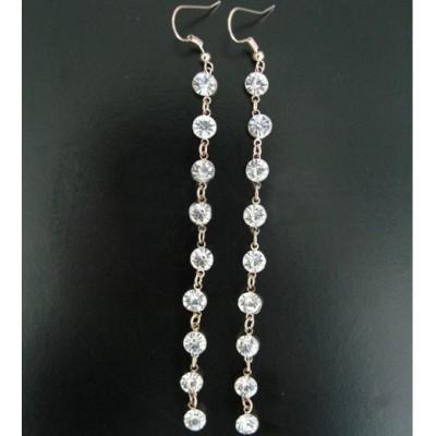 [Free shipping]18K Gold-plated Super Beautiful Long Tassels Flash Diamond Earrings