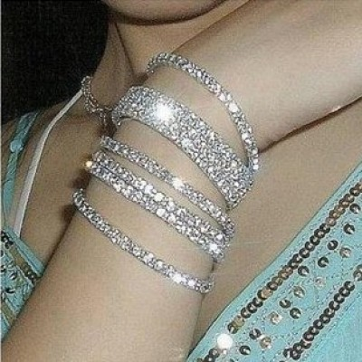 [Free shipping] Bridal Jewelry Celebrity Favorite Flash Diamond Single Row Double Row Of Silver-plated Stretch Bangle