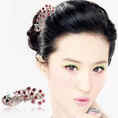 [Free shipping]Tidal Range Of Children Luxury Lady Goods Rhinestone Peacock Hairpin Barrette Spring Clip Blending Hair