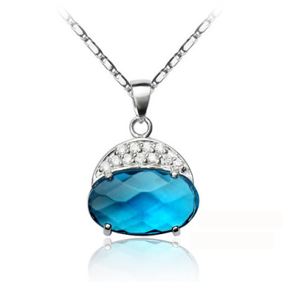 [Free Shipping]Sterling silver necklace - all-inclusive two-color beads Dai jewelry (with gift box)