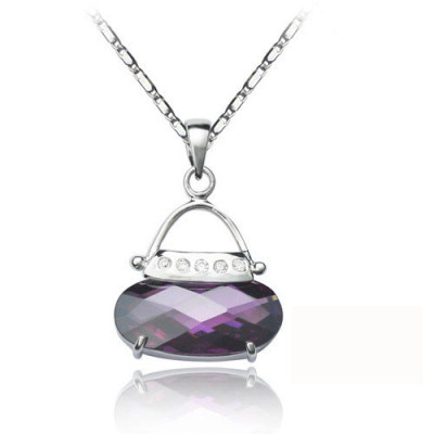 [Free Shipping]Silver necklace (with gift box) of the [beads Dai jewelry - fashion sachet (purple)