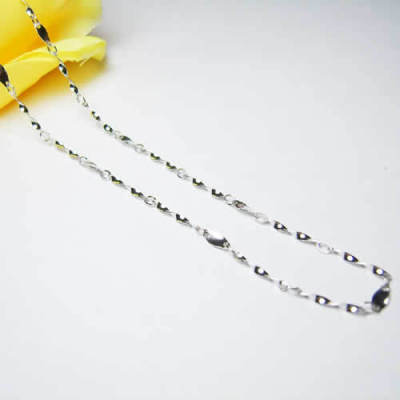 [Free Shipping][Beads Dai jewelry] -16 inch sterling silver necklace plated white full-twisting piece