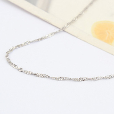 [Free Shipping] Special Silver 18 inch white single water wave-plated necklace with chain / factory direct wholesale