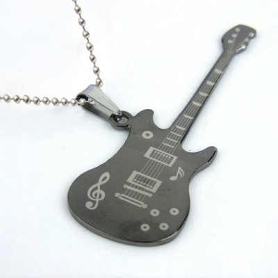 [Free Shipping]Fashion Classic Music Breaks Guitar Titanium Steel Necklace Men Necklace 4 Color Optional