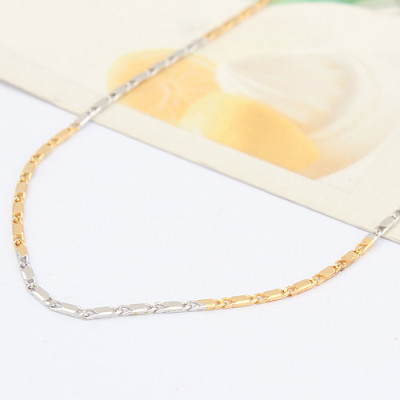 [Free Shipping] jewelry Special Silver 16-inch two-color small square tile necklace with chain / factory direct wholesale
