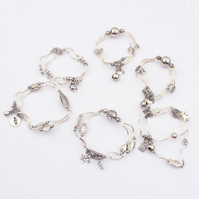 [Free Shipping]jewelry the Specials ethnic fashion the wild Tibetan silver stretch bracelet ( a pack of six randomly shipped)