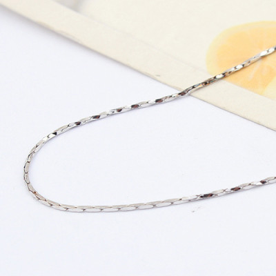 [Free Shipping]jewelry Special Silver 16-inch -plated white half - twisted bamboo necklace with chain / manufacturers direct wholesale