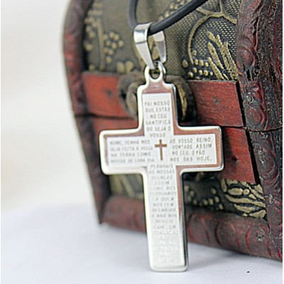 [Free Shipping] Cross Scriptures Stainless Steel Single Necklace
