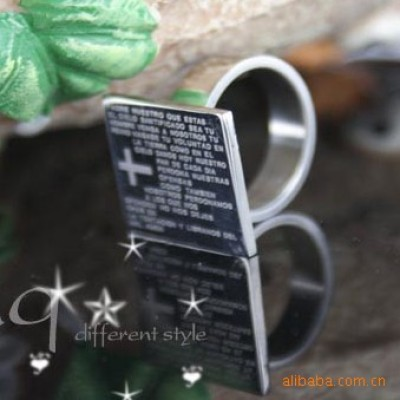 [Free Shipping]Jewelry scarf collars masks star titanium steel cross party respect Ring
