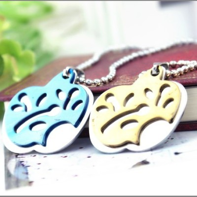 [Free Shipping] Korean jewelry manufacturers double apple pendant titanium steel necklace 3 colors optional