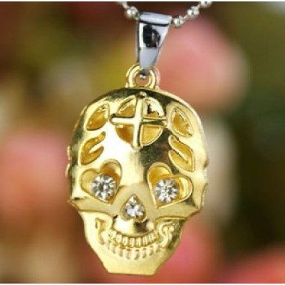 [Free Shipping]Titanium steel necklace stainless steel necklace diamond skull necklace titanium steel stainless imitation fade